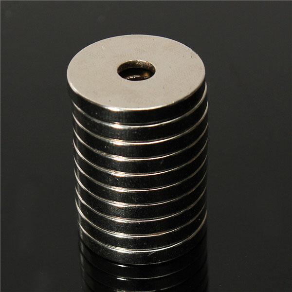 10 штук НЕОДИМОВЫЙ МАГНИТ 20мм х 3мм круглые с отверстием 5мм