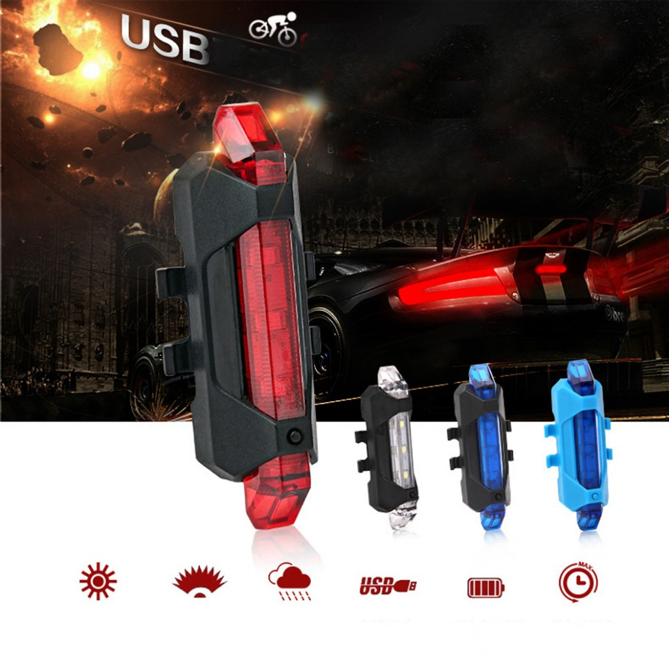Универсальный аккумуляторный USB светодиодный фонарь для велосипеда 3 цвета свечения