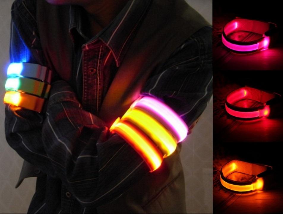 Светодиодный браслет повязка 2.5 x 32 см для велосипедистов пешеходов и туристов