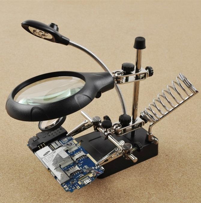 Лупа 2.5X 7.5X 10X паяльная станция держатель зажимы тиски инструмент со светодиодной LED подсветкой