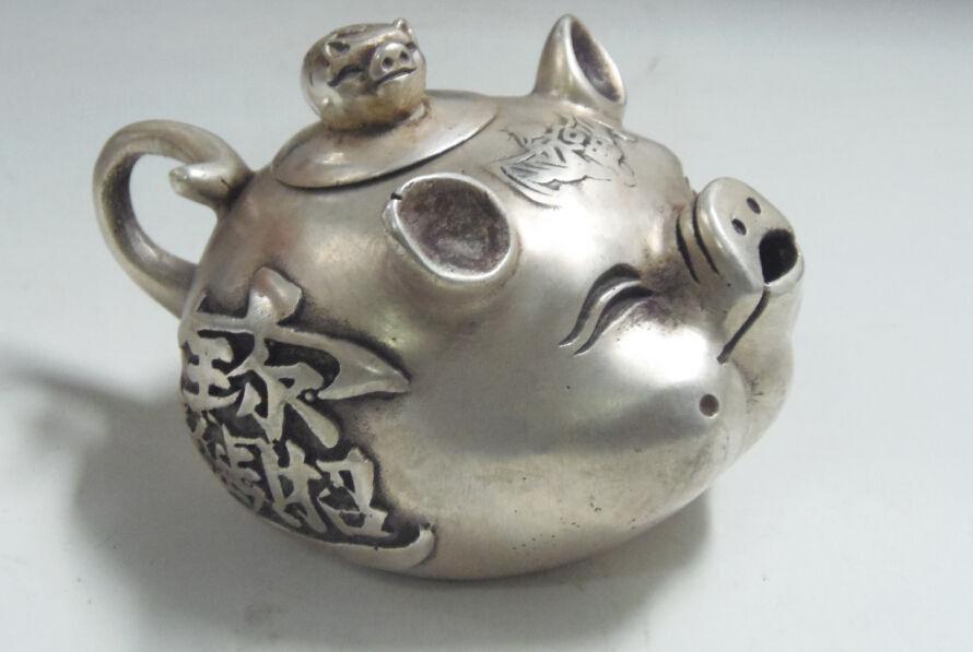чайник ПОРОСЕНОК тибетское серебро древний Китай
