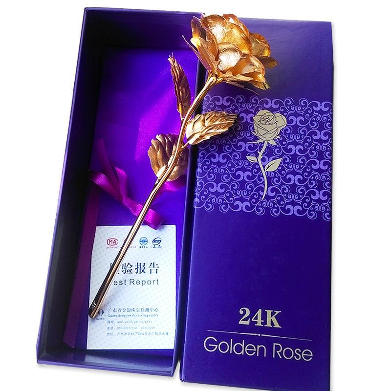 РОЗА ЗОЛОТАЯ 24К = 999проба ЛУЧШИЙ ПОДАРОК ЛЮБИМОЙ в красивой подарочной упаковке