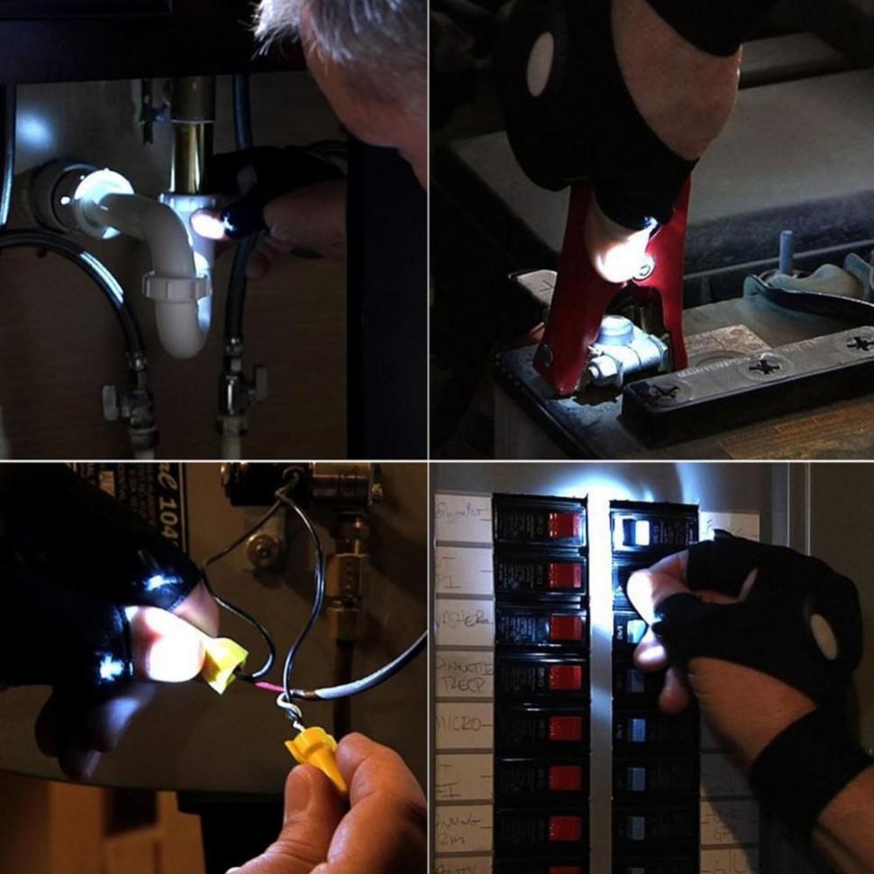Перчатка Фонарь фонарик со светодиодной подсветкой
