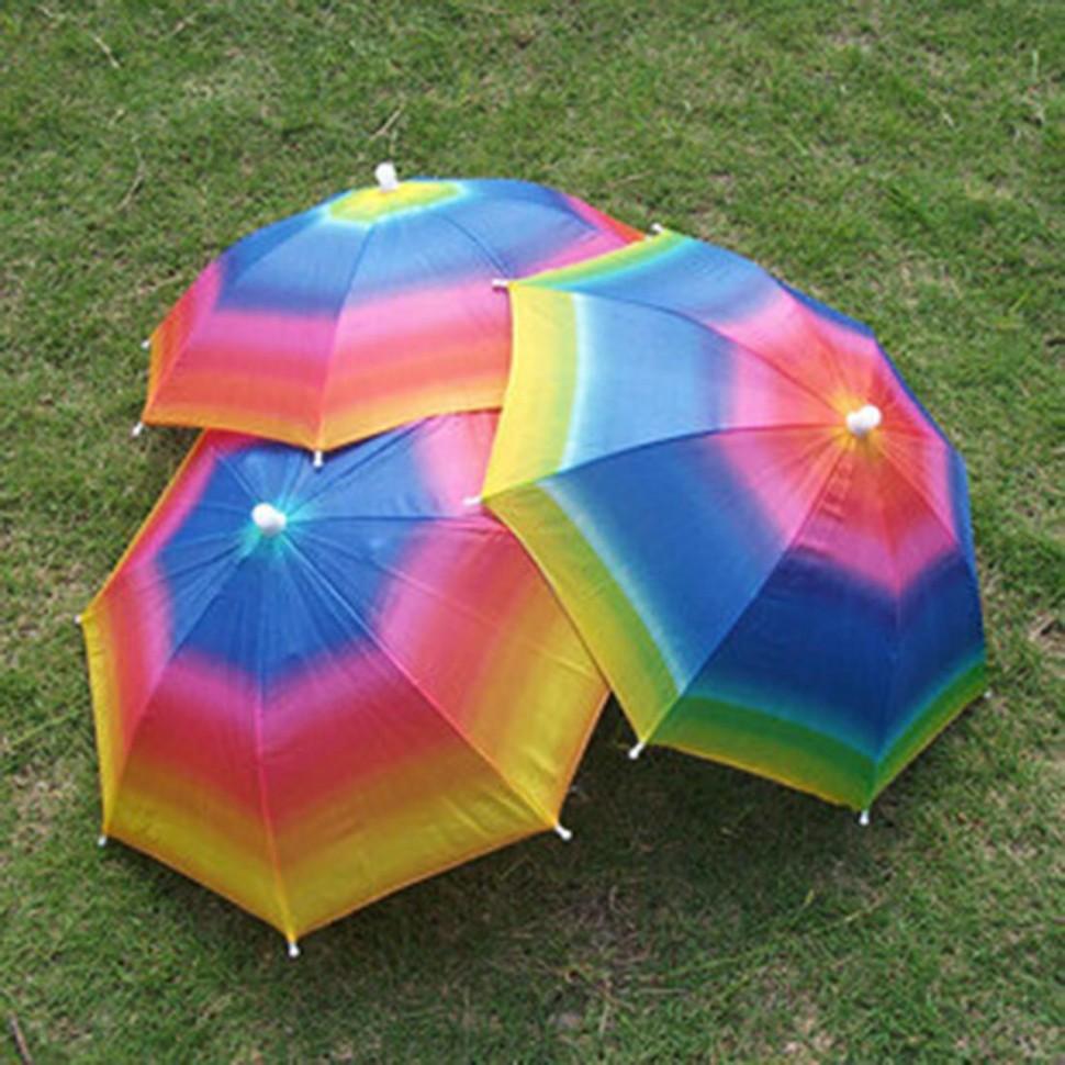 Компактный зонтик на голову Радуга зонт рыбалка экскурсия поход пляж отдых