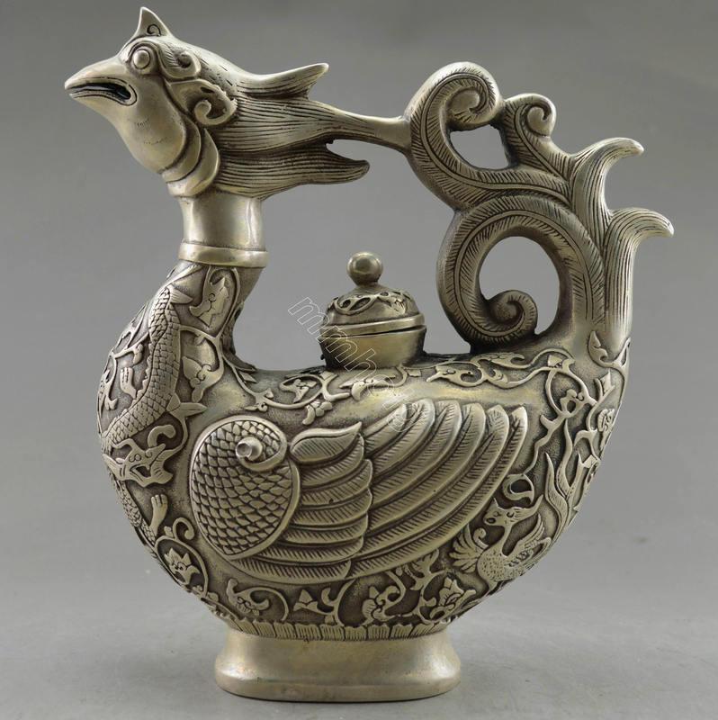 чайник ПЕТУХ тибетское серебро древний Китай