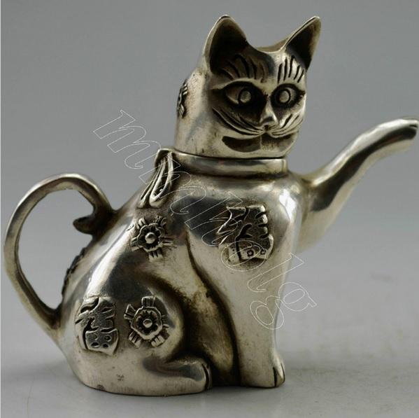 чайник КОШКА тибетское серебро древний КИТАЙ