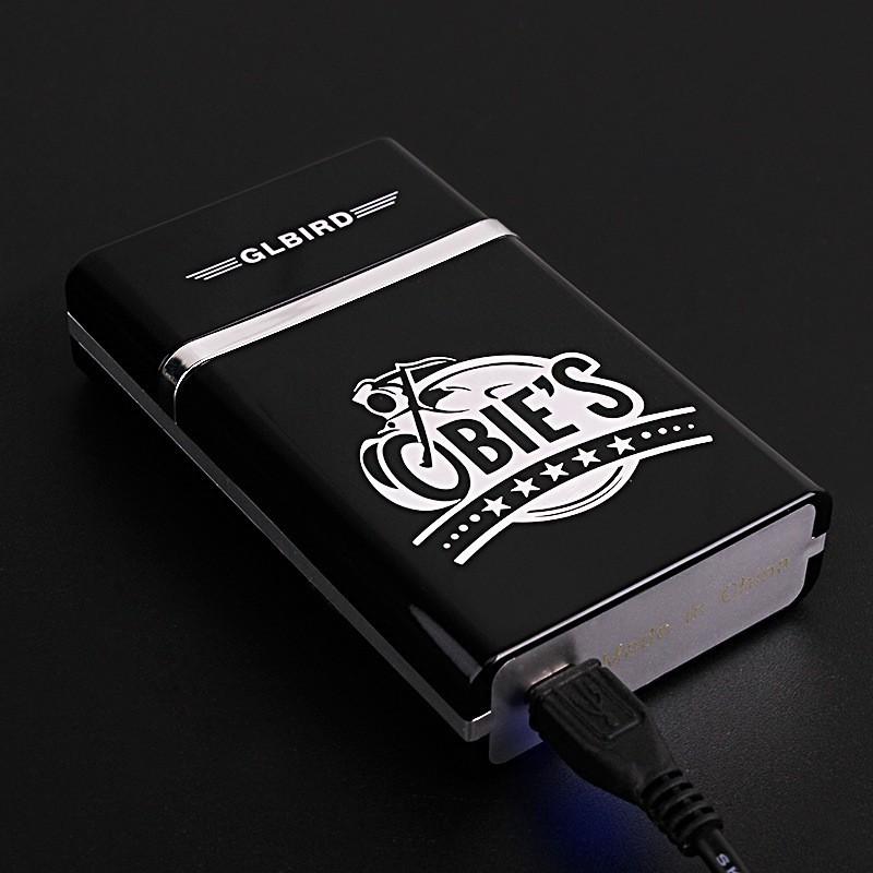 Зажигалка USB вечная перезаряжаемая с Портсигаром беспламенная ветрозащитная электрическая спичка