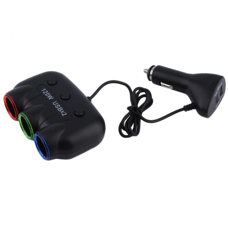 Автомобильный адаптер переходник прикуривателя на 3 порта 12 Вольт + 2 USB портам 5 Вольт 120 Ватт