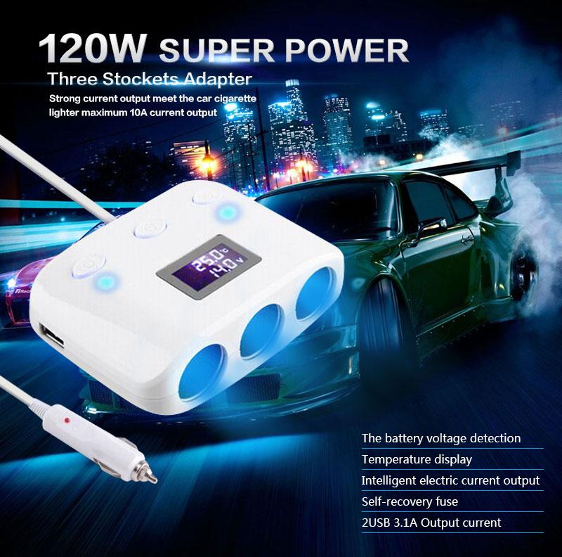 Автомобильный адаптер переходник прикуривателя на 3 порта 12 Вольт + 2 USB портам 5 Вольт 120 Ватт ЖКИ температуры и напряжения индикация