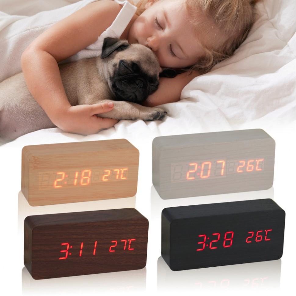 Стильные Часы будильник электронные настольные температура управление звуком