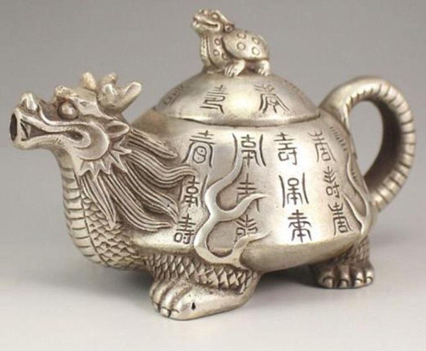 чайник ЧЕРЕПАХА с головой ДРАКОНА тибетское серебро древний Китай