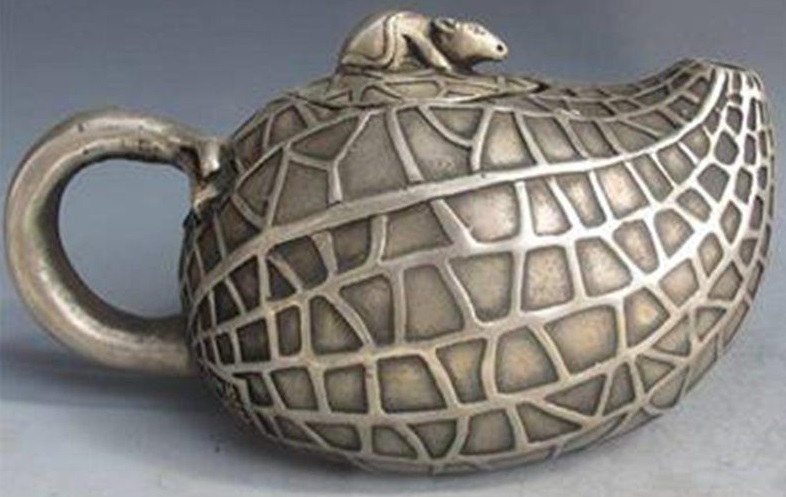 чайник Мышь тибет серебро древний Китай