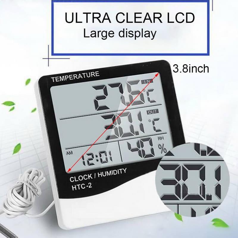 Термометр гигрометр метеостанция с часами и будильником календарь погодная станция внешний датчик