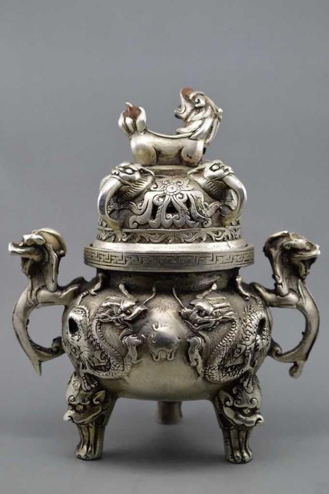 Курильница Драконы тибетское серебро древний Китай