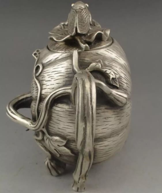 чайник ТЫКВА ЦИКАДА тибетское серебро древний Китай