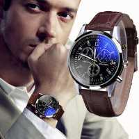 Наручные кварцевые часы с синим стеклом