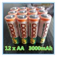 Пальчиковые аккумуляторы GP 3000mAh AA 1,2V 12 штук
