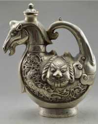 чайник ЛОШАДЬ тибетское серебро древний Китай