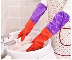 Длинные латексные перчатки c внутренней тканевой подкладкой для сохранения температурного режима
